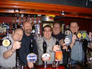 Ian, Tom, Paul, Kev and Johnny behind the bar at The Bohemian in Deal
