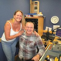 Judy my wife and I on air at Academy FM Thanet 2012